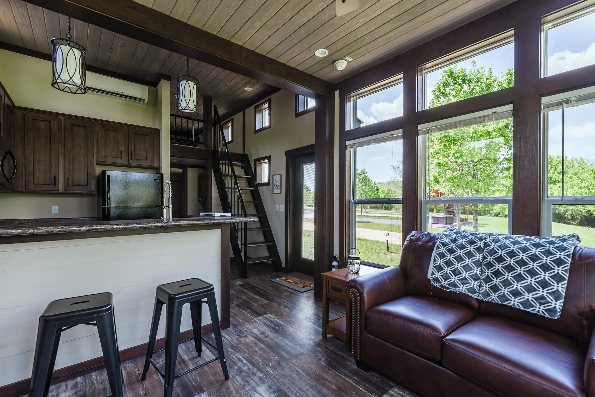 Common area of tiny home at Waterside at Blue Ridge