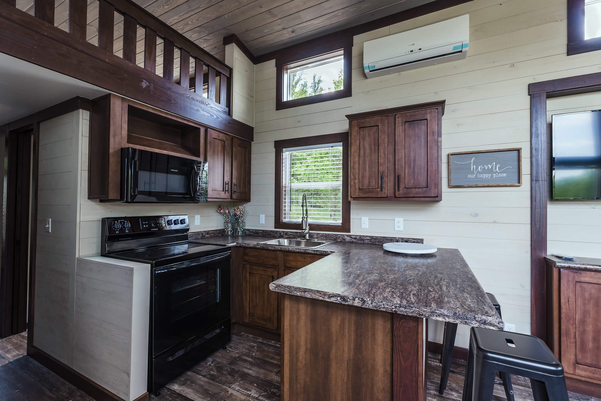 Kitchen of tiny home at Waterside at Blue Ridge